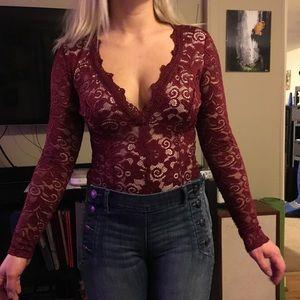 Maroon lace bodysuit!